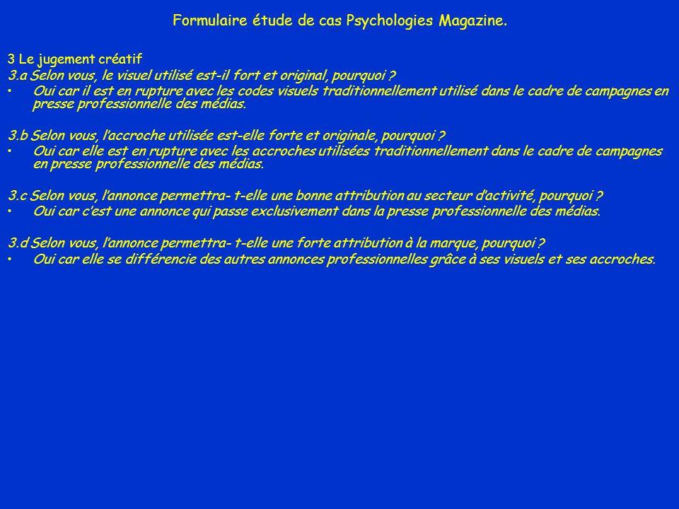 Formulaire étude de cas Psychologies Magazine.