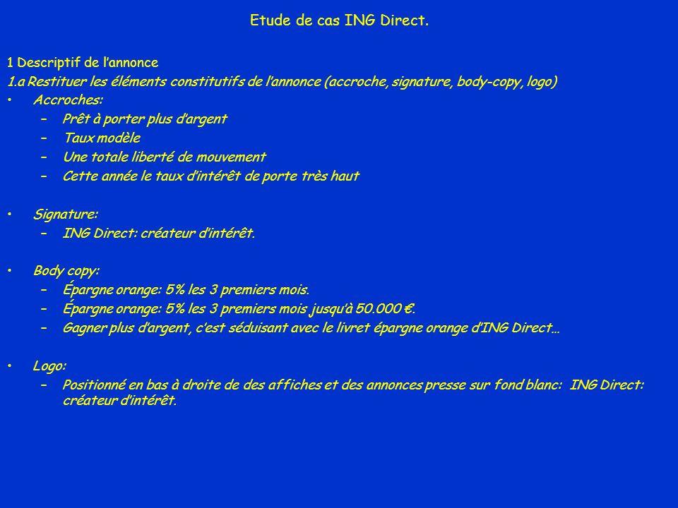 Etude de cas ING Direct. 1 Descriptif de l'annonce
