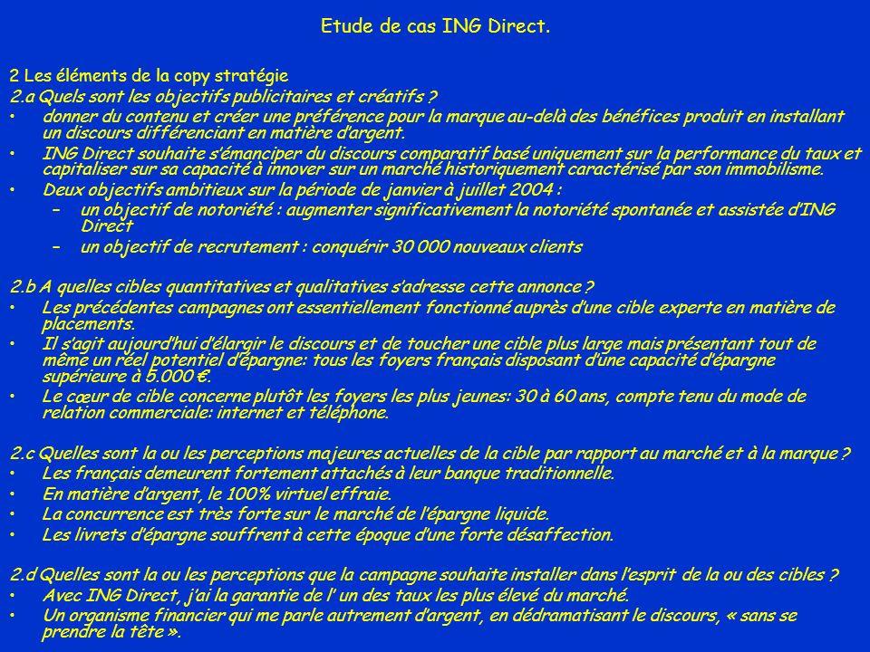 Etude de cas ING Direct. 2 Les éléments de la copy stratégie