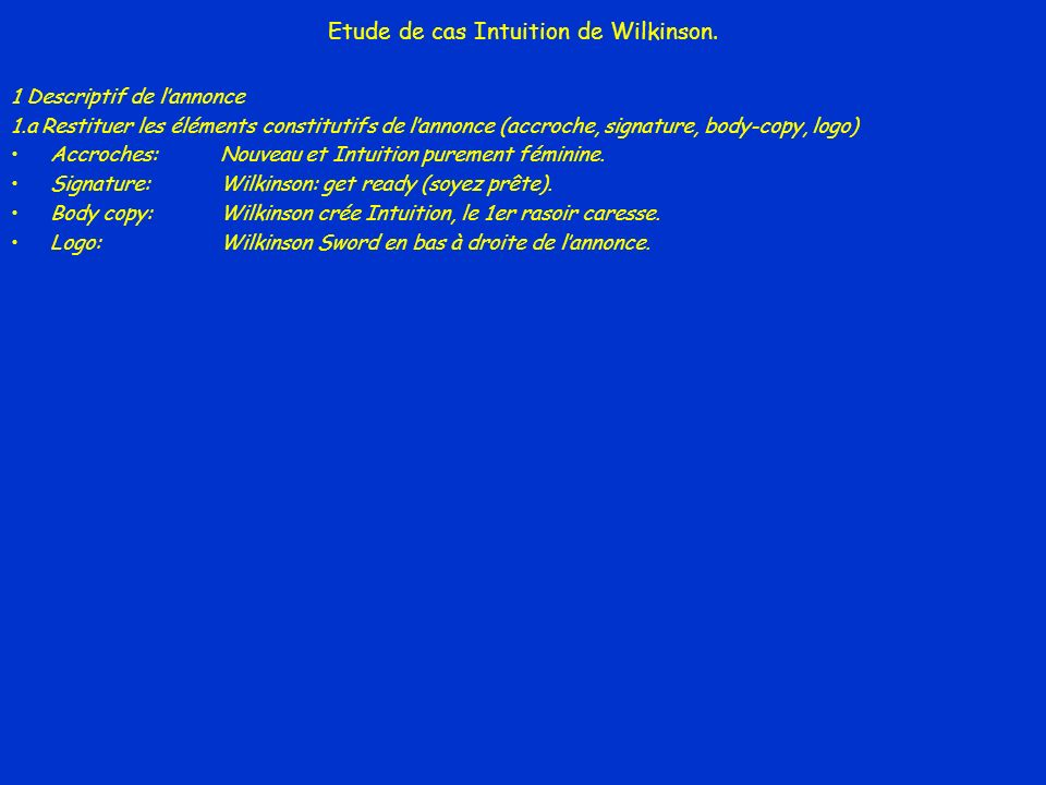 Etude de cas Intuition de Wilkinson.