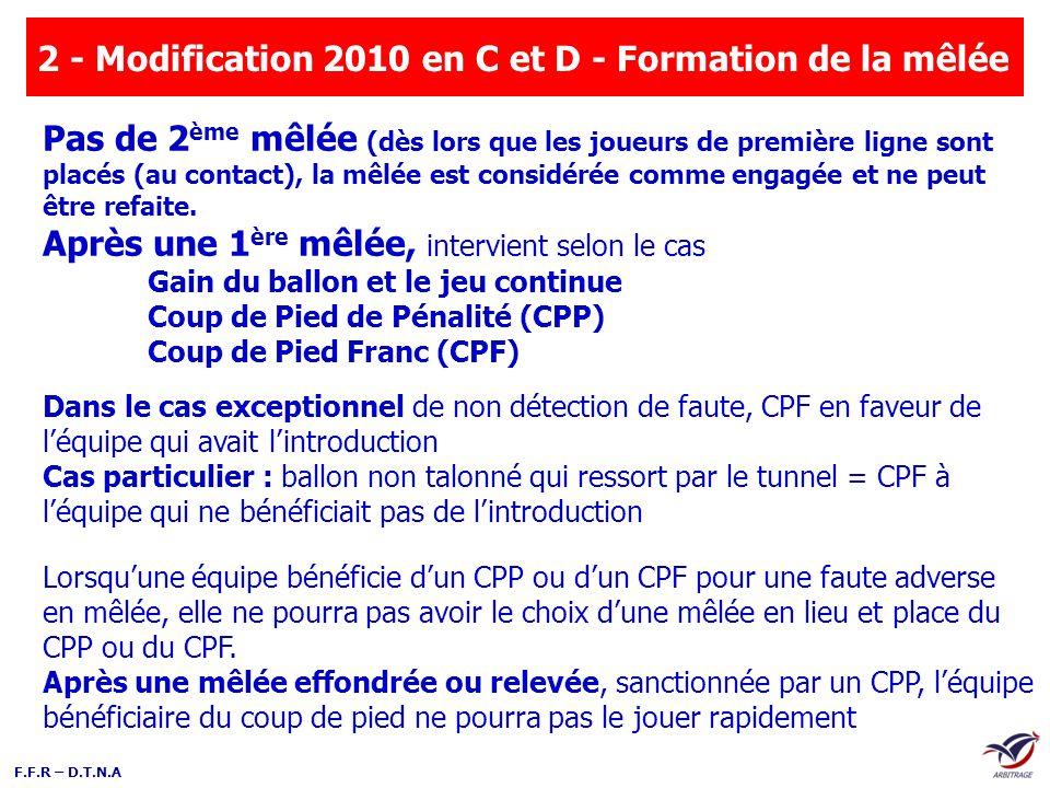 2 - Modification 2010 en C et D - Formation de la mêlée