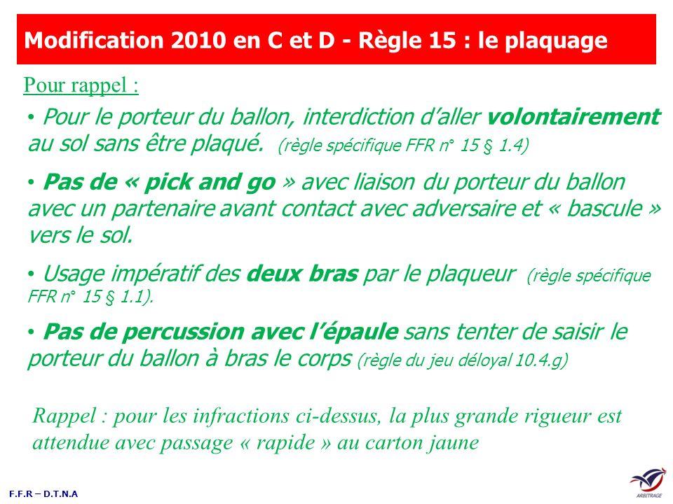 Modification 2010 en C et D - Règle 15 : le plaquage