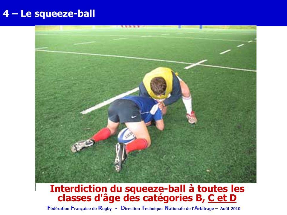 4 – Le squeeze-ball Interdiction du squeeze-ball à toutes les classes d âge des catégories B, C et D.