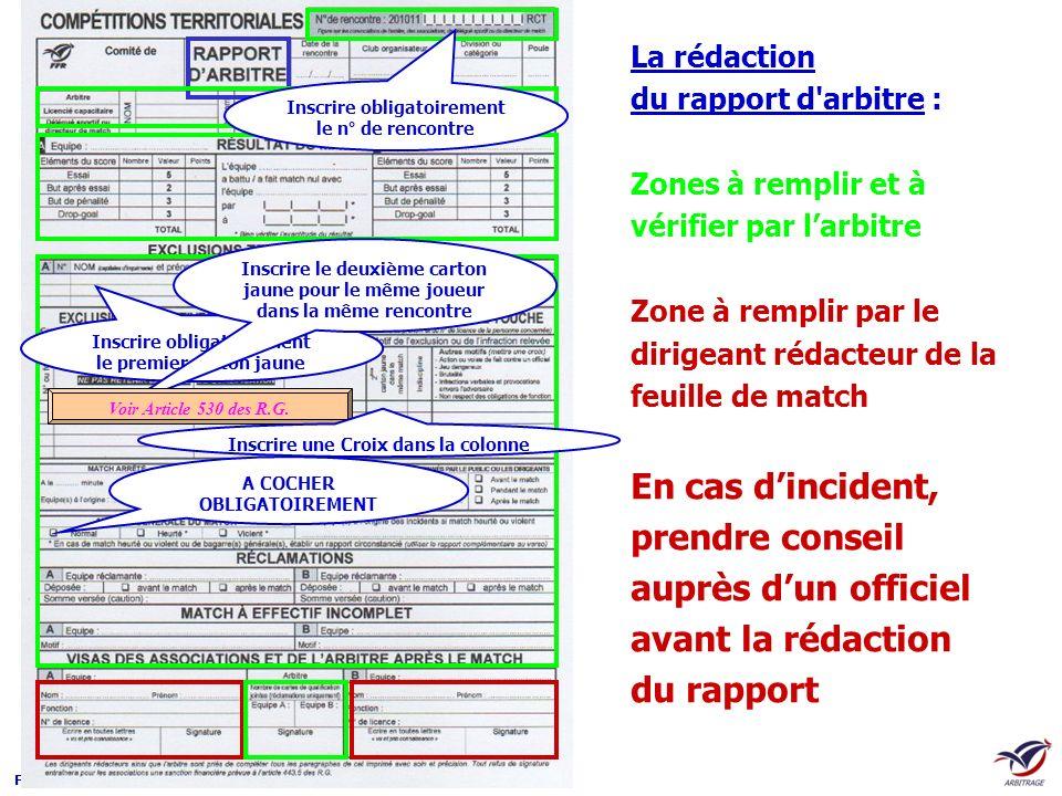 La rédaction du rapport d arbitre :