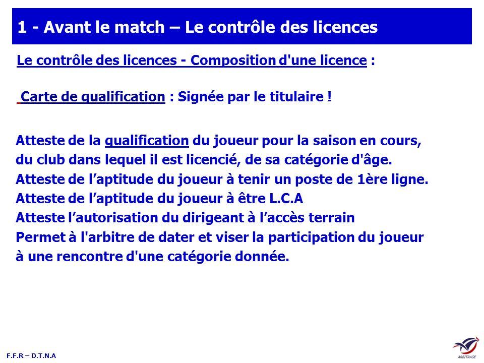 1 - Avant le match – Le contrôle des licences