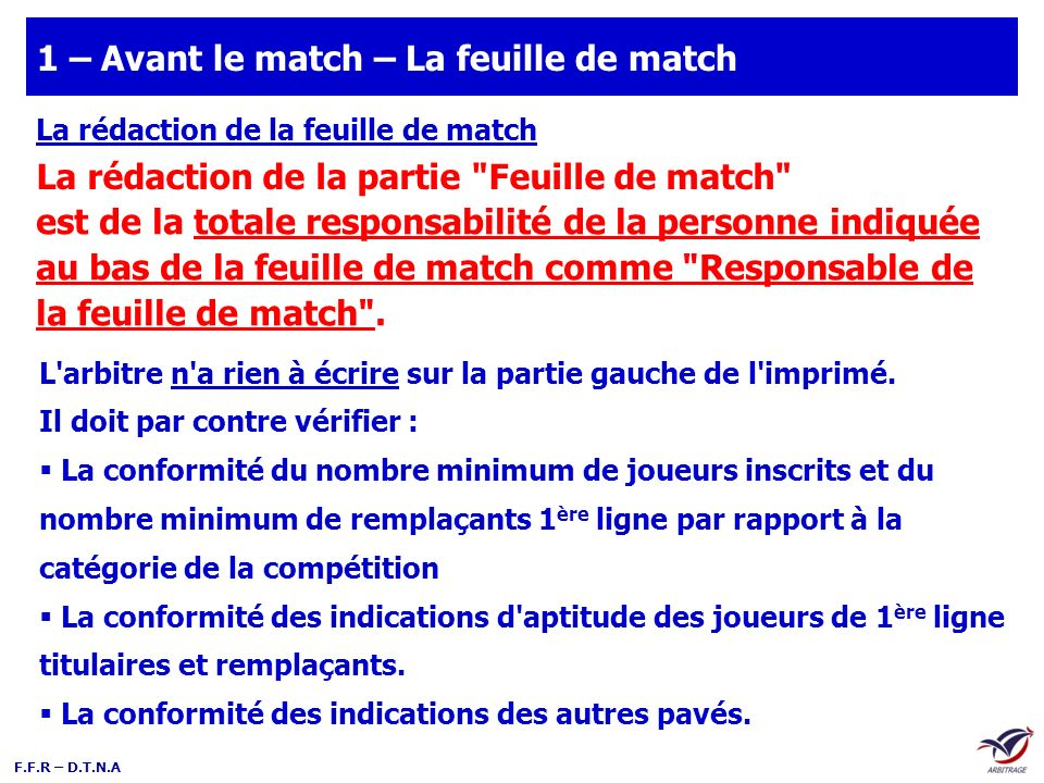 1 – Avant le match – La feuille de match