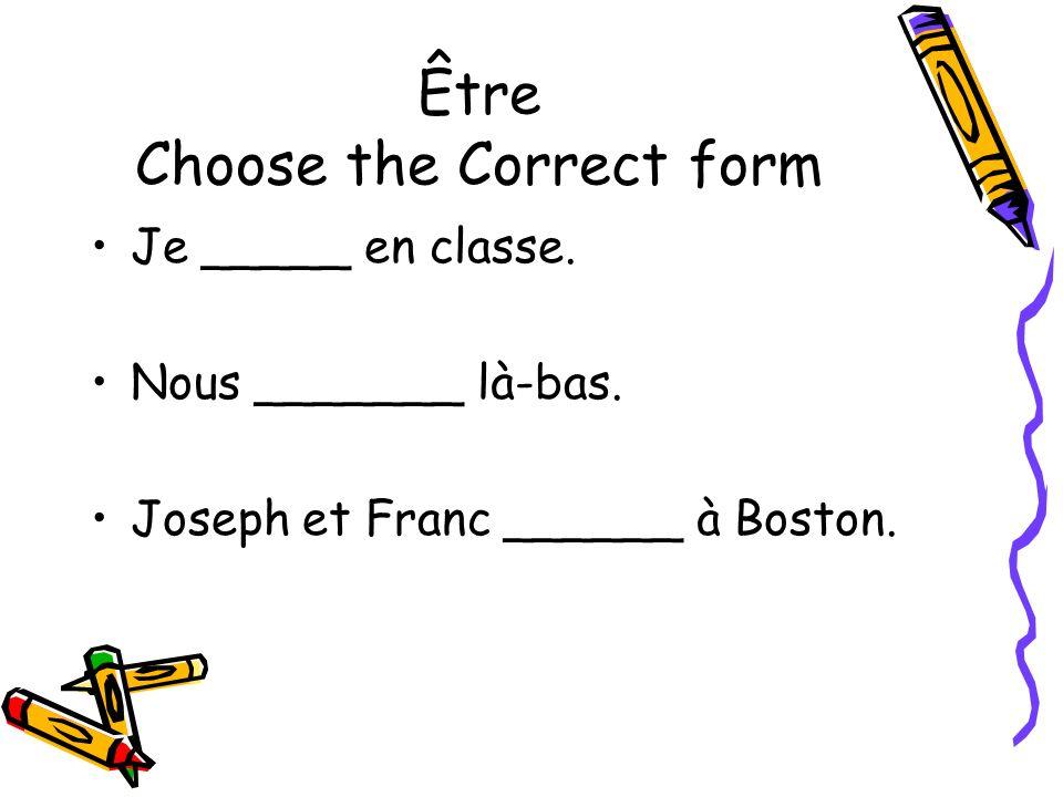 Être Choose the Correct form