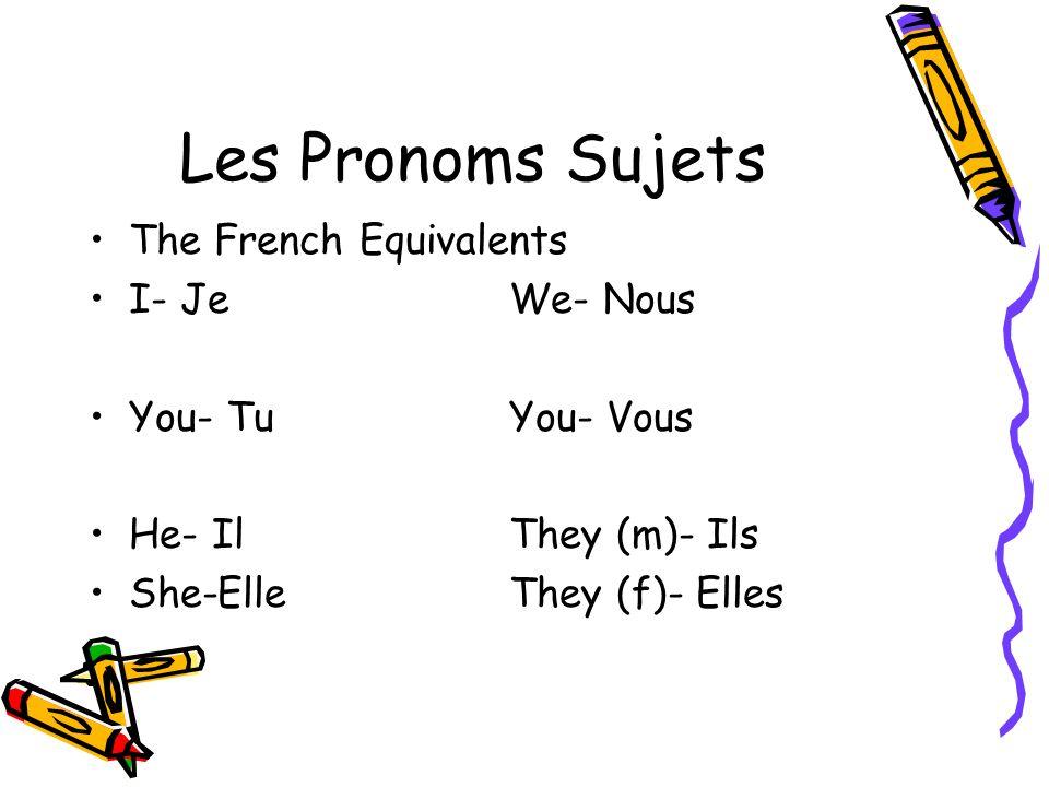 Les Pronoms Sujets The French Equivalents I- Je We- Nous
