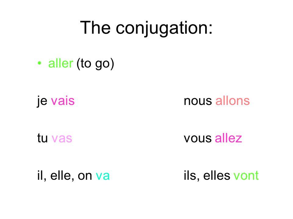 The conjugation: aller (to go) je vais nous allons tu vas vous allez