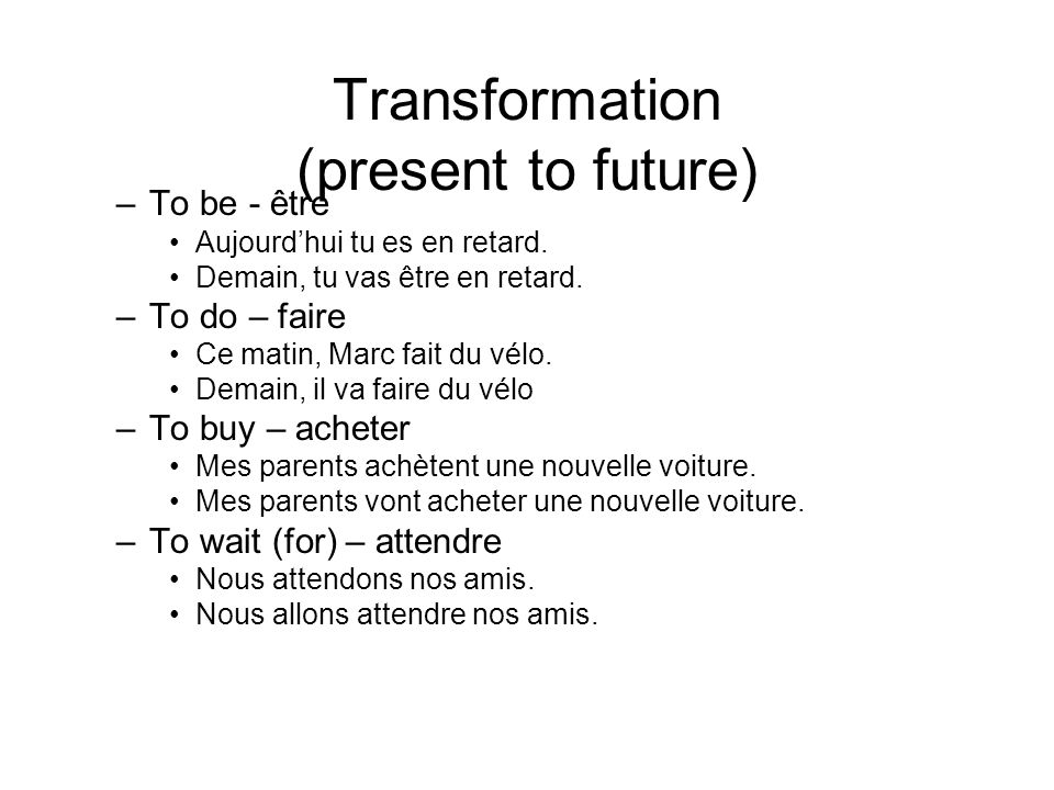 Transformation (present to future)