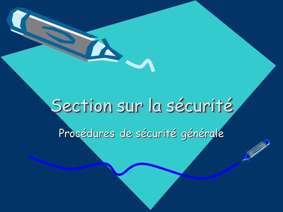 Section sur la sécurité