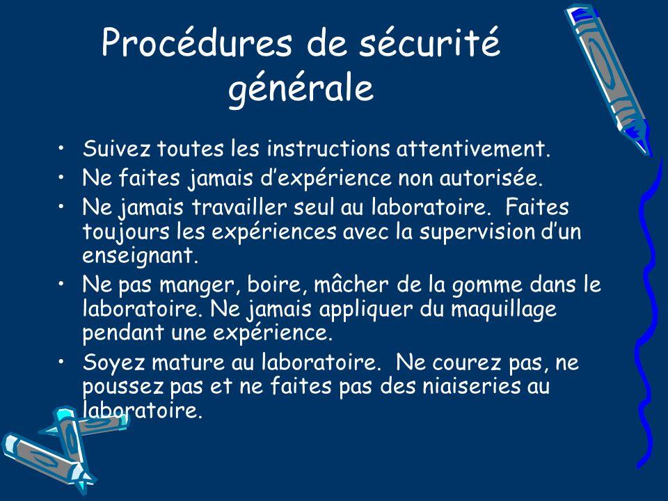 Procédures de sécurité générale