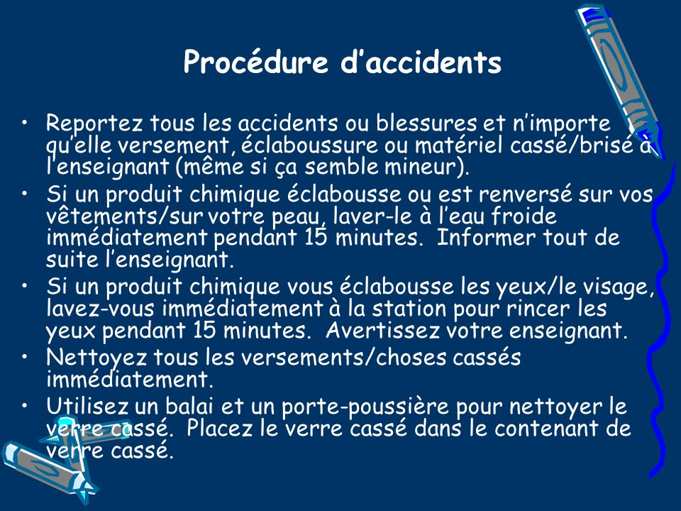 Procédure d'accidents
