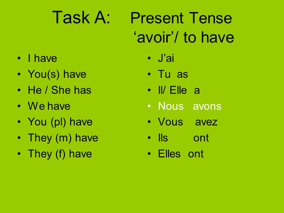 Task A: Present Tense 'avoir'/ to have