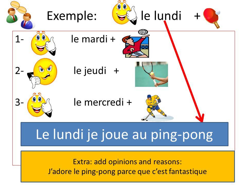 Le lundi je joue au ping-pong