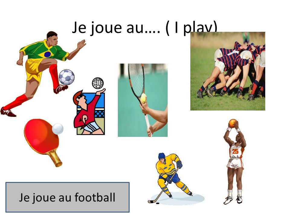 Je joue au…. ( I play) Je joue au football