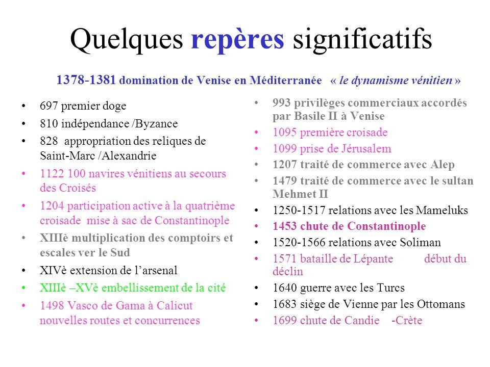 Quelques repères significatifs 1378-1381 domination de Venise en Méditerranée « le dynamisme vénitien »