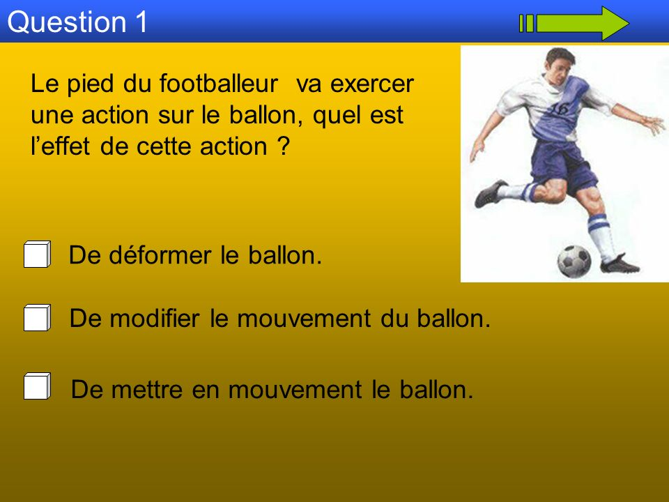 Question 1 Le pied du footballeur va exercer une action sur le ballon, quel est l'effet de cette action