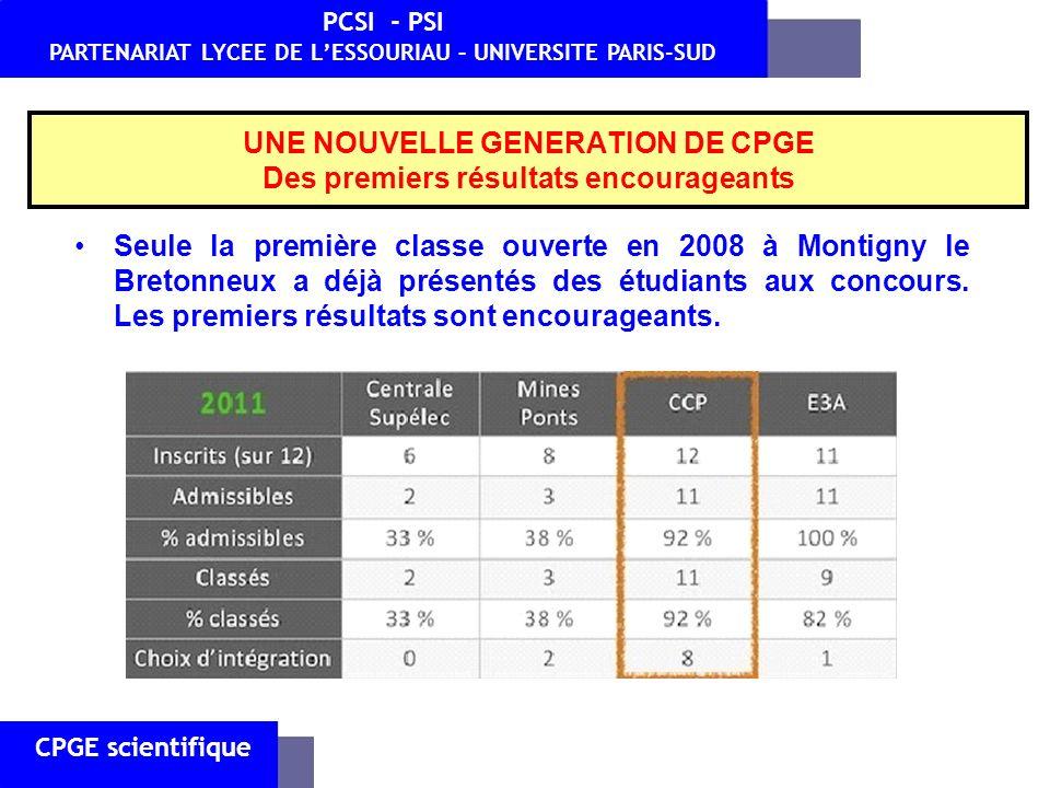 UNE NOUVELLE GENERATION DE CPGE Des premiers résultats encourageants