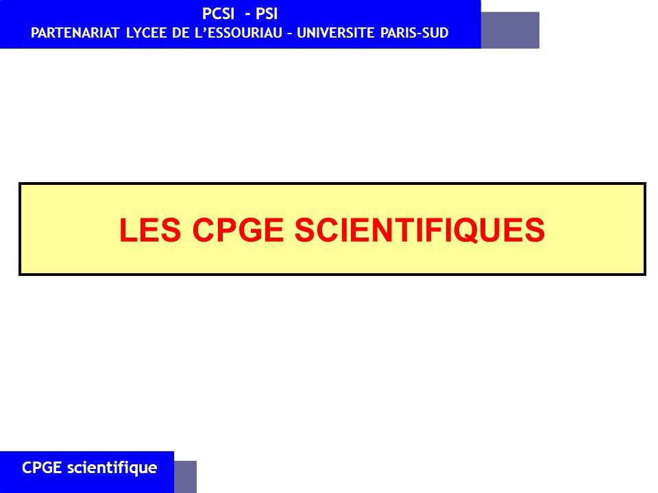 LES CPGE SCIENTIFIQUES