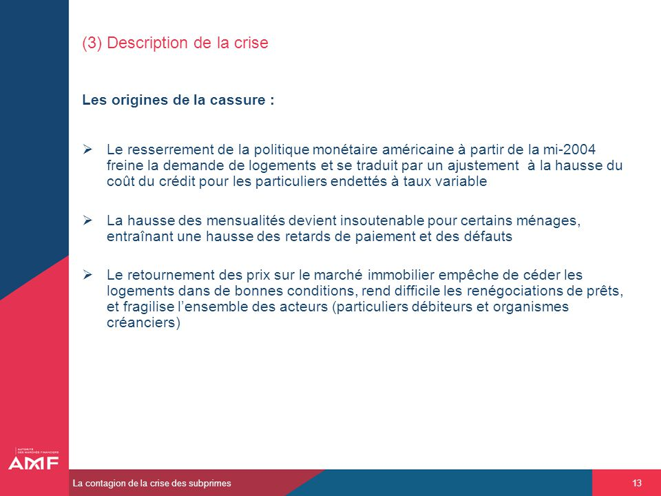 (3) Description de la crise