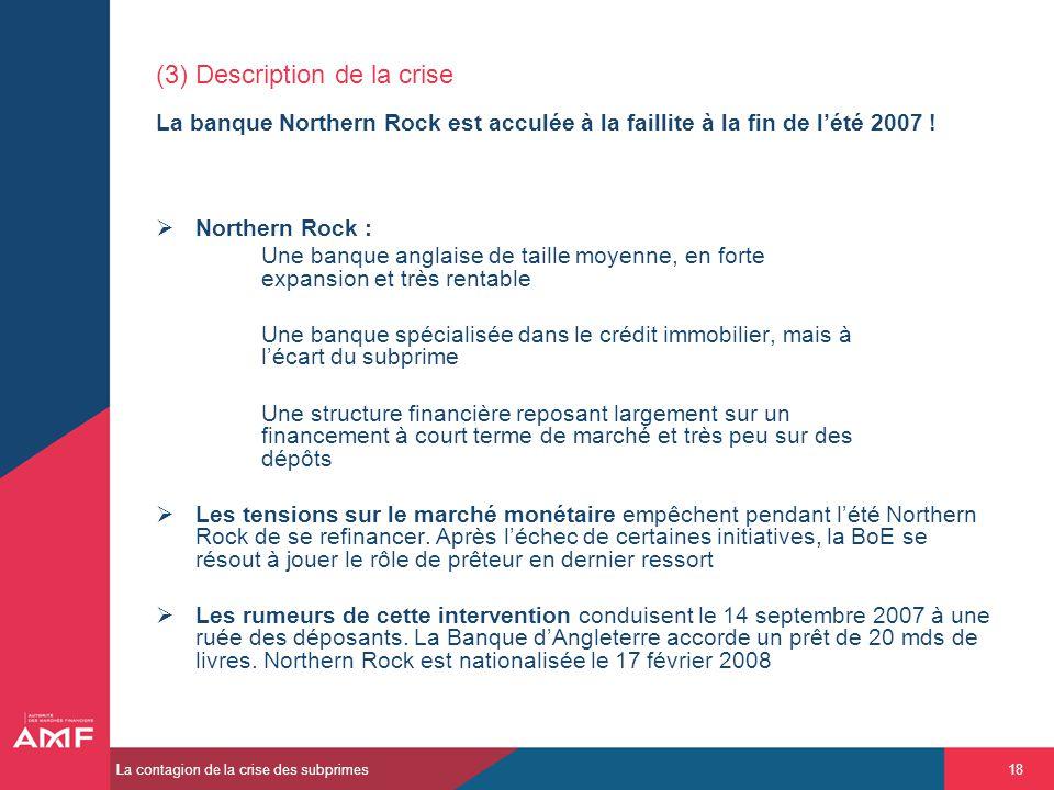 (3) Description de la crise La banque Northern Rock est acculée à la faillite à la fin de l'été 2007 !