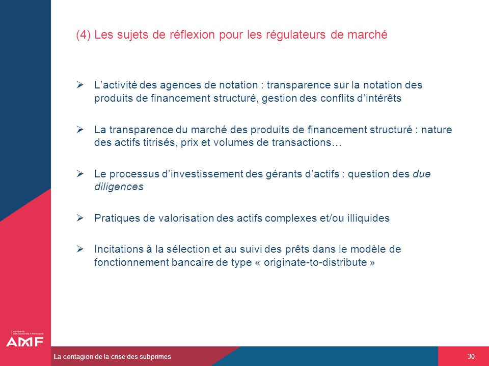 (4) Les sujets de réflexion pour les régulateurs de marché