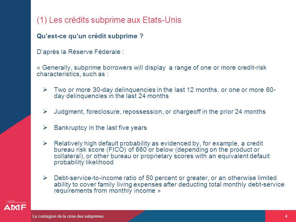 (1) Les crédits subprime aux Etats-Unis