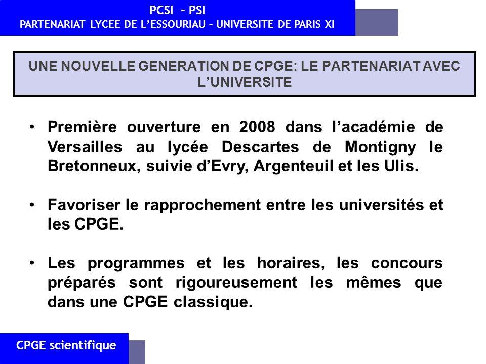 UNE NOUVELLE GENERATION DE CPGE: LE PARTENARIAT AVEC L'UNIVERSITE