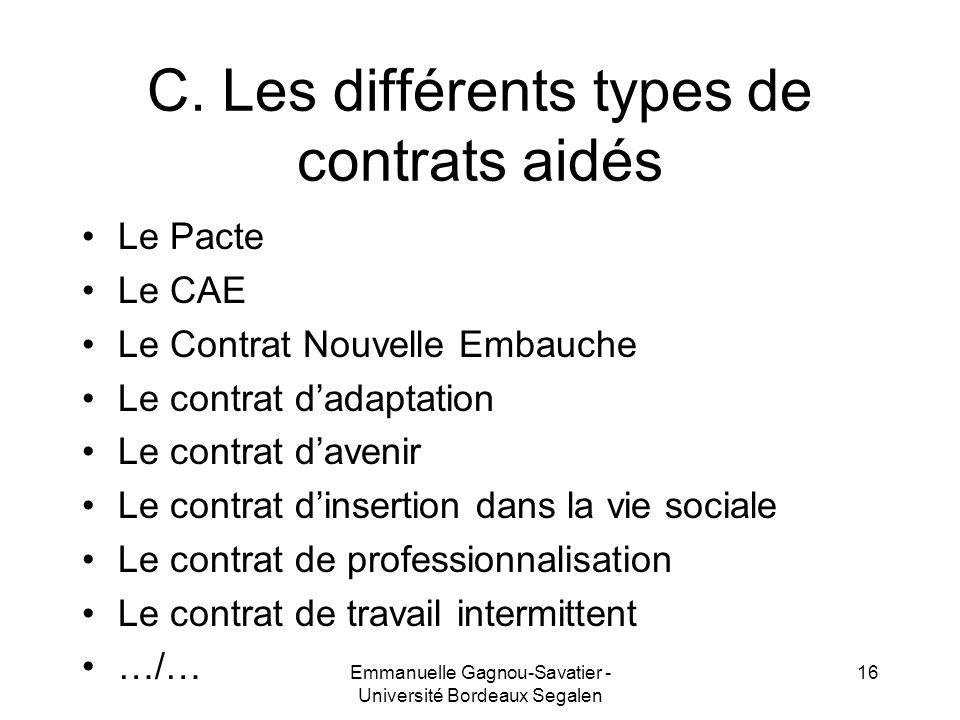 C. Les différents types de contrats aidés