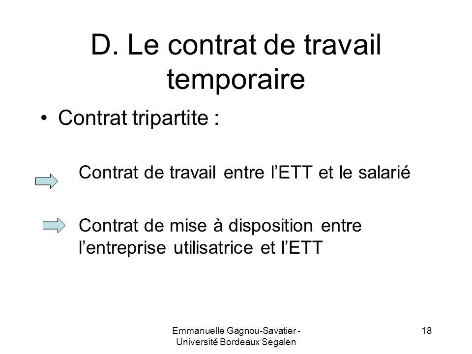 D. Le contrat de travail temporaire