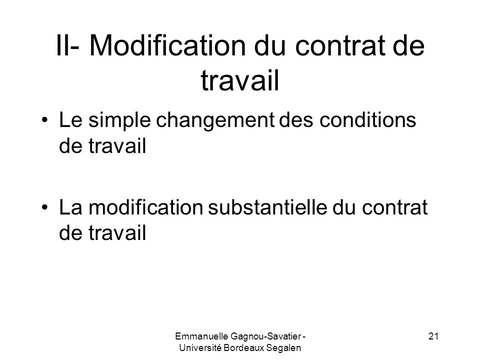 II- Modification du contrat de travail