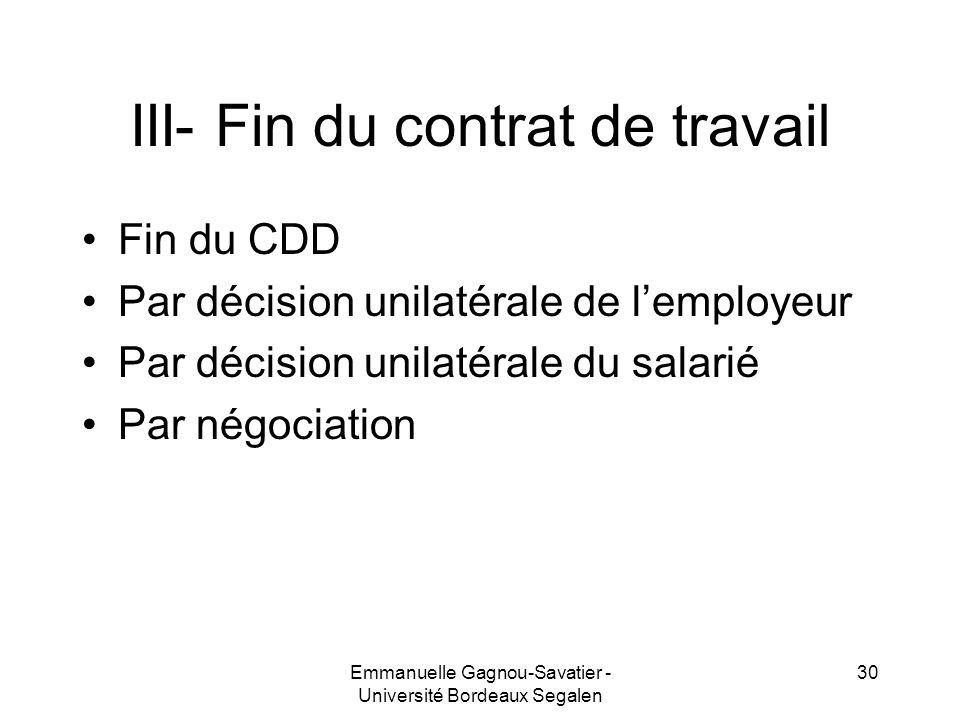 III- Fin du contrat de travail
