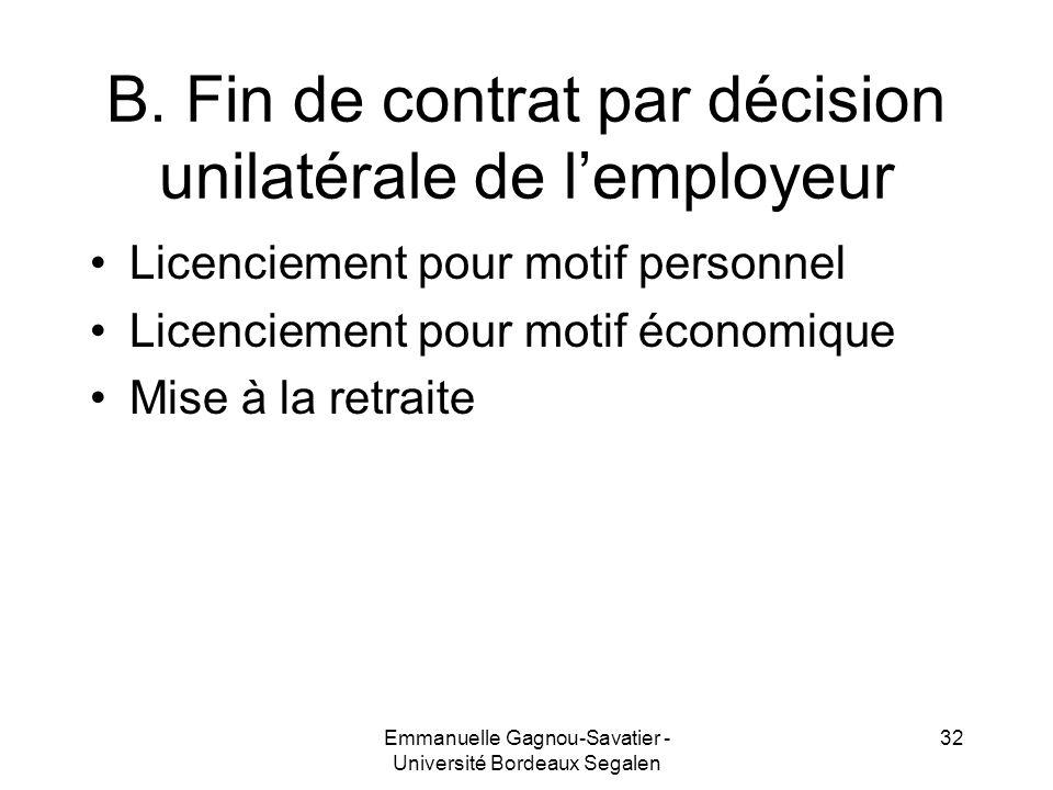 B. Fin de contrat par décision unilatérale de l'employeur