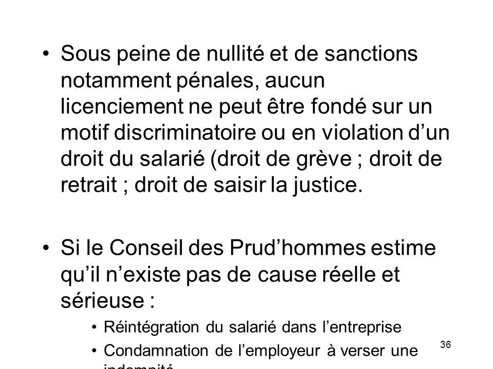 Sous peine de nullité et de sanctions notamment pénales, aucun licenciement ne peut être fondé sur un motif discriminatoire ou en violation d'un droit du salarié (droit de grève ; droit de retrait ; droit de saisir la justice.