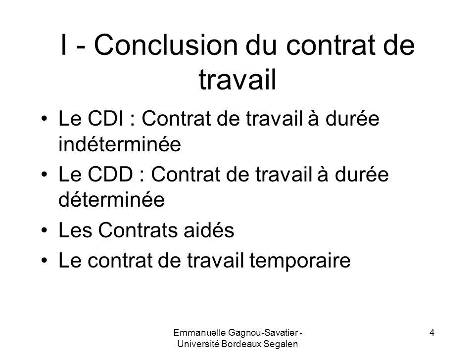 I - Conclusion du contrat de travail