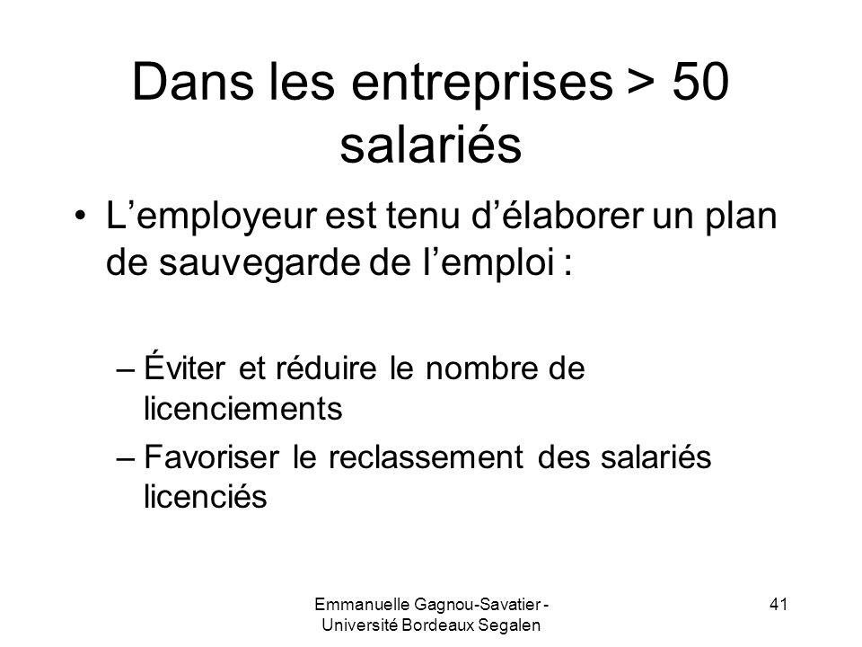 Dans les entreprises > 50 salariés