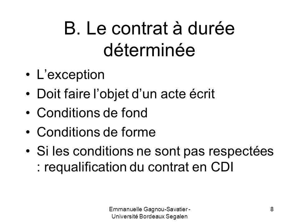 B. Le contrat à durée déterminée