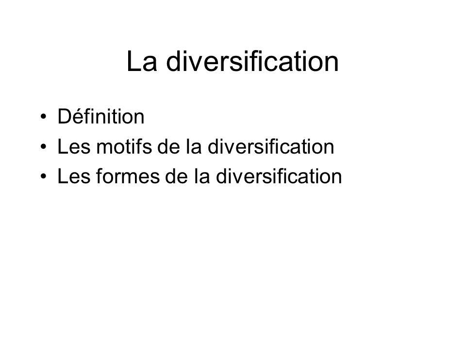 La diversification Définition Les motifs de la diversification