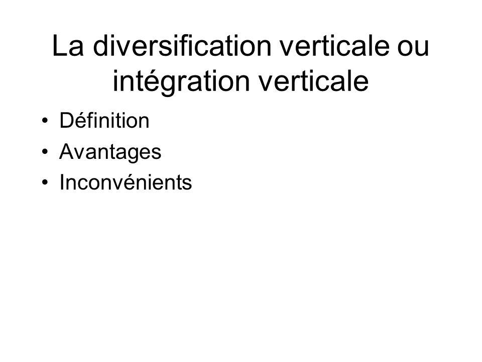 La diversification verticale ou intégration verticale