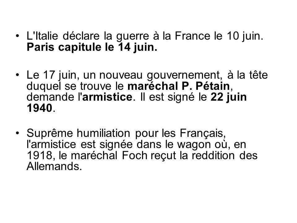L Italie déclare la guerre à la France le 10 juin