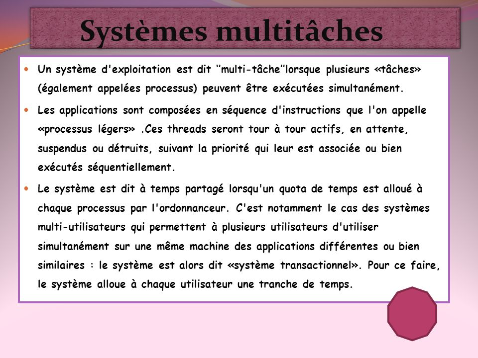 Systèmes multitâches