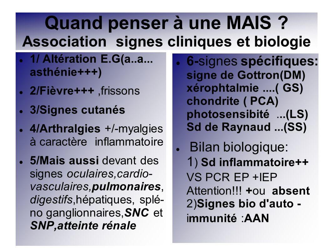 Quand penser à une MAIS Association signes cliniques et biologie