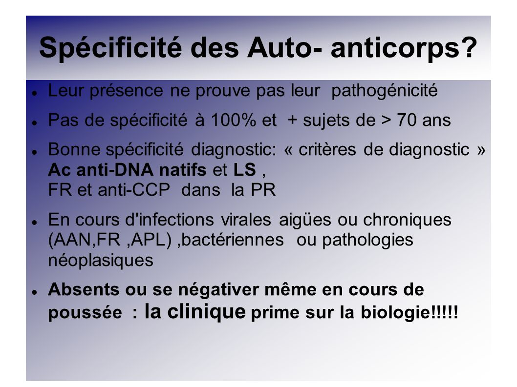 Spécificité des Auto- anticorps