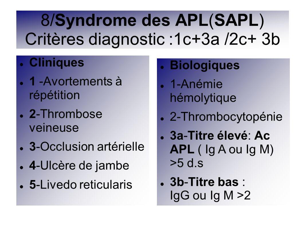 8/Syndrome des APL(SAPL) Critères diagnostic :1c+3a /2c+ 3b