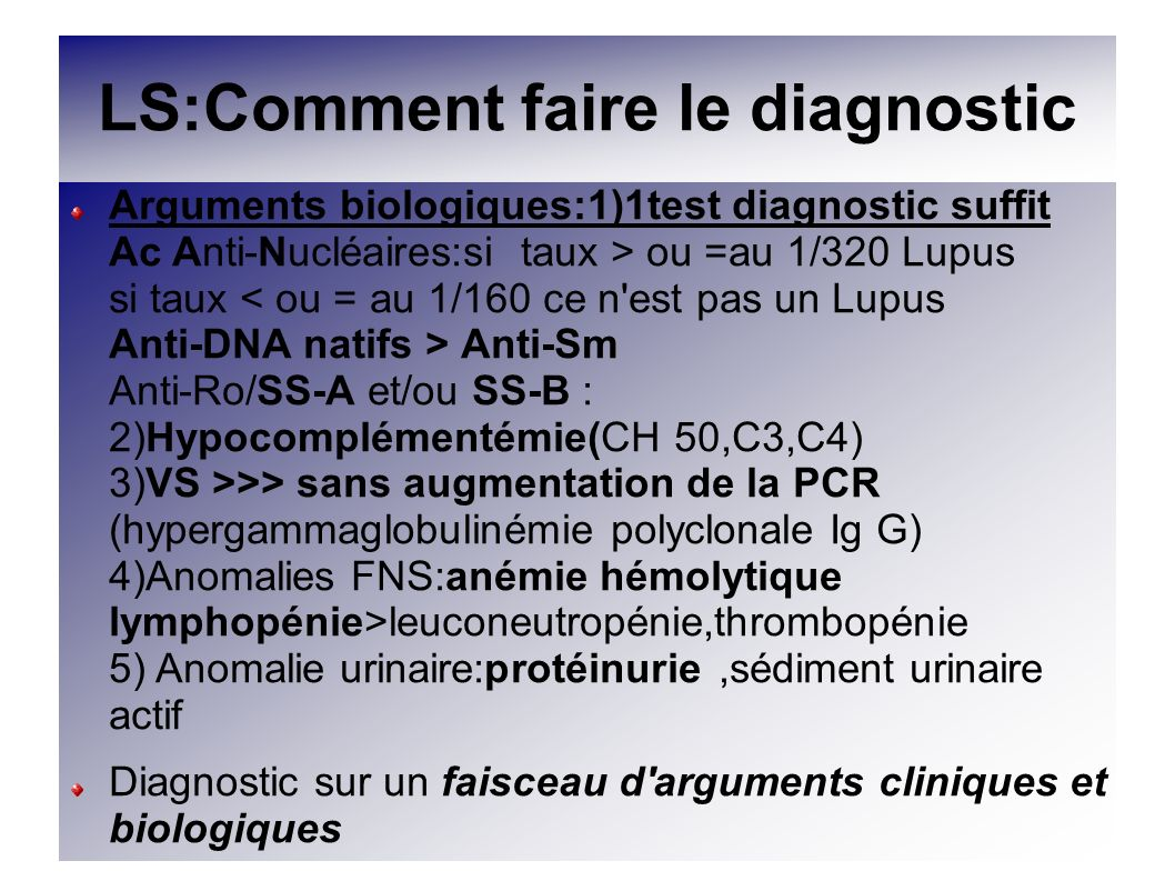 LS:Comment faire le diagnostic
