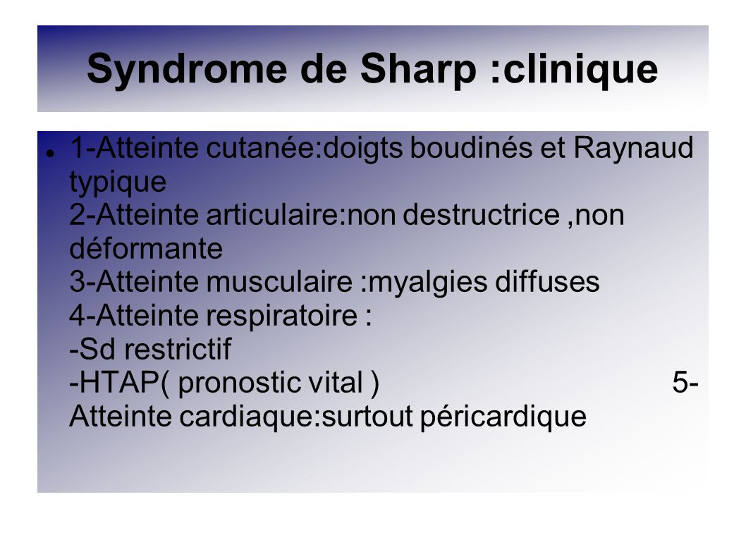 Syndrome de Sharp :clinique
