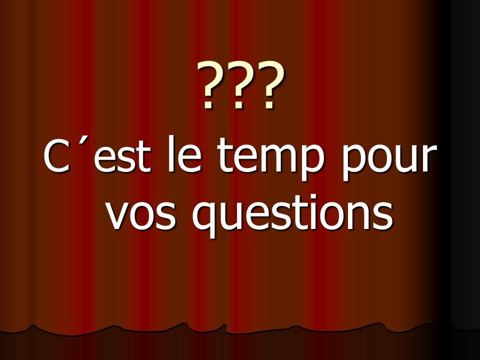 C´est le temp pour vos questions