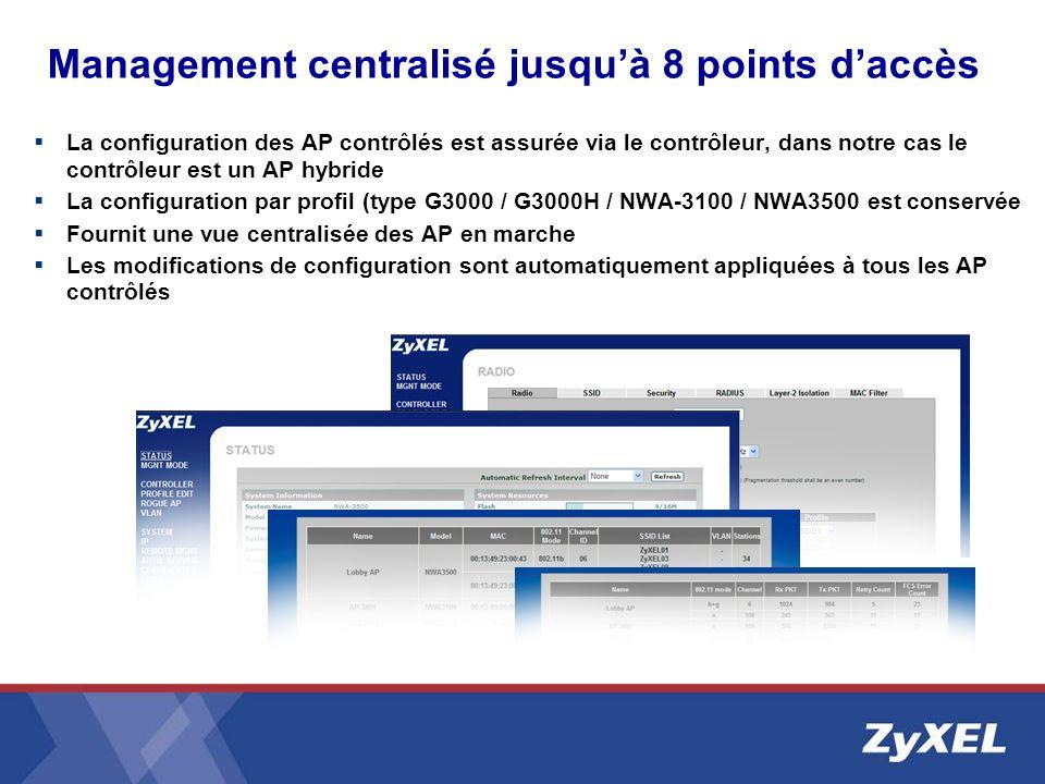 Management centralisé jusqu'à 8 points d'accès