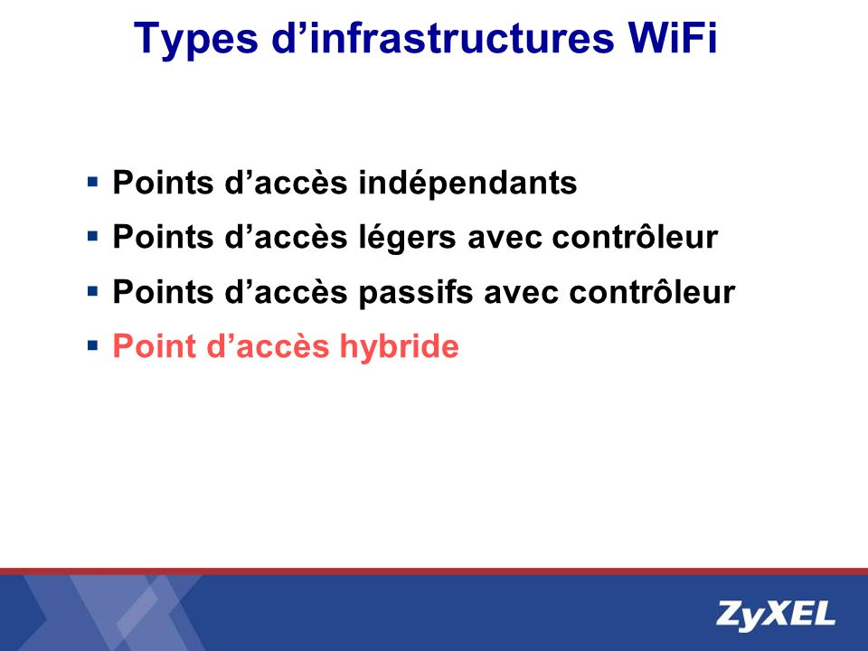 Types d'infrastructures WiFi